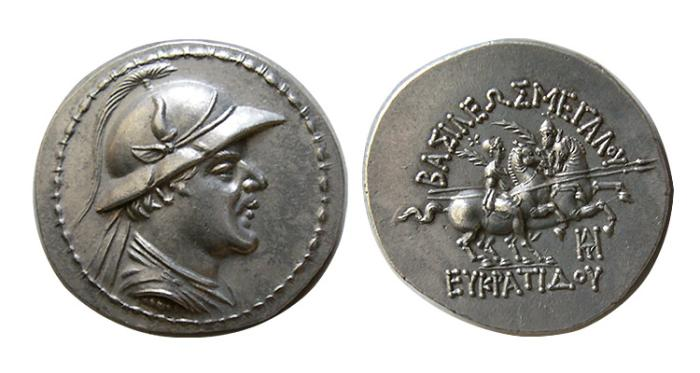 Ancient Coins - KINGS of BAKTRIA. Eukratides I. Circa 171-145 BC. AR Tetradrachm. Attic standard.