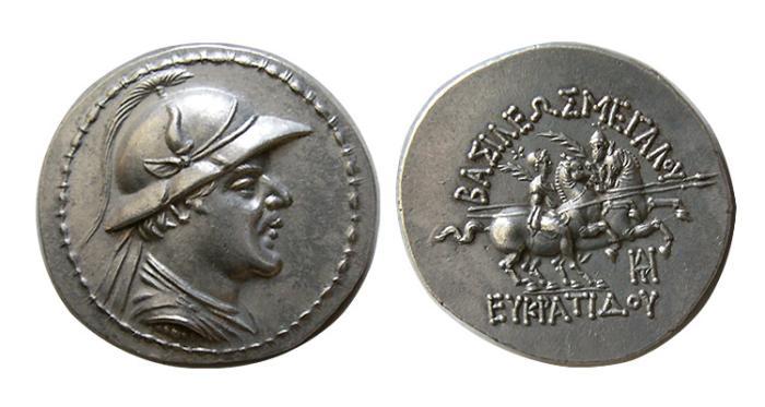 Ancient Coins - KINGS of BAKTRIA. Eukratides I. Circa 171-145 BC. AR Tetradrachm. Attic standard.