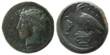 Ancient Coins - SICILY, Akragas. Circa 400-380 BC. Æ Hemilitron. Lovely strike. Very Rare.