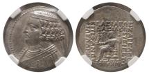 Ancient Coins - PARTHIAN KINGDOM, Orodes II. Ca. 57-38 BC. Silver Tetradrachm. NGC-Choice XF (Strike 5/5; Surface 3/5).