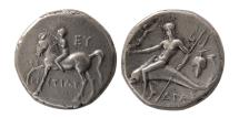 Ancient Coins - CALABRIA, Tarentum. Circa 280-272 BC. AR Nomos.