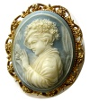 Ancient Coins - VICTORIAN SARDONYX CAMEO PIN. Circa 1850s. Original gilt frame. Perfect condition.  Intact. Rare.