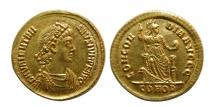 ROMAN EMPIRE. Valentinian II. 375-392 AD. Gold Solidus. Elegant style. Choice FDC. Lustrous.