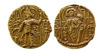 World Coins - INDIA. Later Kushans. Aya-Shaka. Circa 310-345 AD. Gold Dinar.