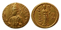 Ancient Coins - INDIA. KUSHAN KINGS. Huvishka.  AD 147/52-191. AV Dinar. Lovely strike. Choice Superb EF. Lustrous.