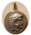 Ancient Coins - KINGS of MACEDON. Alexander III. 336-323 BC. AR Tetradrachm. Lifetime issue.  Set in a Custom-made 18K. Gold frame.