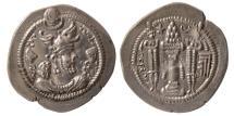 Ancient Coins - SASANIAN KINGS. Peroz (Firuz) I. AD 457/9-484. AR Drachm. BBA Court mint. Lovely strike.