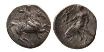 Ancient Coins - CALABRIA, Taras. 280-272 BC. AR Nomos.
