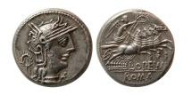 ROMAN REPUBLIC. L. Opimius. 131 BC. Silver Denarius.