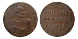 World Coins - ITALY, Papal States-Vatican. Pius VI. 1796. 2 1/2 Baiocchi.