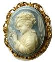 Ancient Coins - VICTORIAN SARDONYX CAMEO PIN. Circa 1850s. Original gilt frame. Perfect condition.  Intact. Rare.