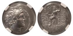 Ancient Coins - SELEUCID KINGDOM. Alexander I Balas. 150-145 BC. AR Tetradrachm. dated SE 165 (149/8 BC). NGC Choice AU.