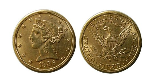 World Coins - UNITED STATES. Liberty Head. 1886-S Five Dollar Gold