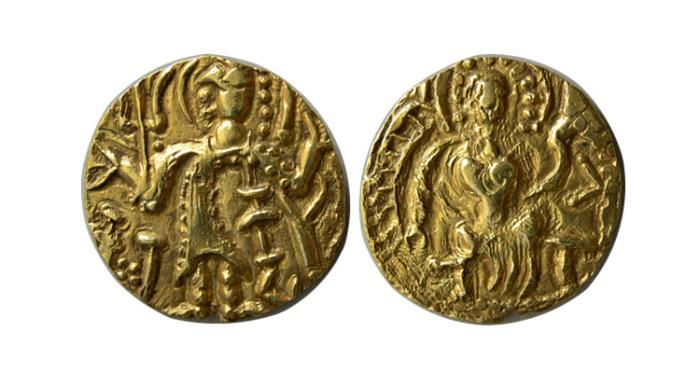 World Coins - INDIA. Regional Coinages. Kashmir. Shri Sahi. 4th century AD. AV Dinar