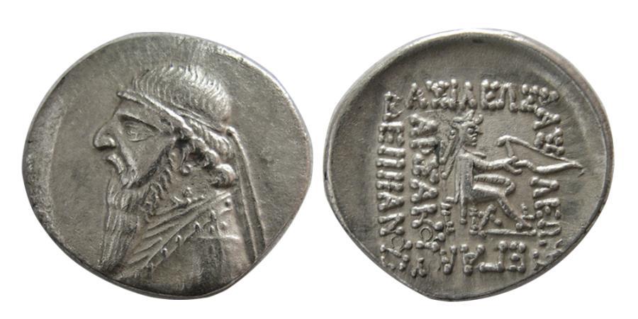 Ancient Coins - KINGS of PARTHIA. Mithradates II. 121-91 BC. AR Drachm. Rhagai mint.