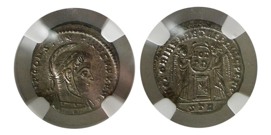 Ancient Coins - ROMAN EMPIRE. Constantine I. 307-337 AD. AE3 (Bl Nummus). Trier mint. NGC-Choice MS.