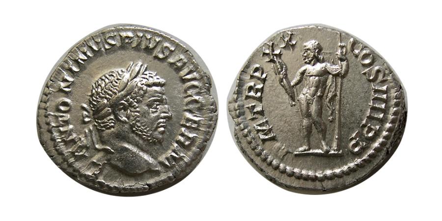 Ancient Coins - ROMAN EMPIRE. Caracalla. 198-217 AD. AR Denarius. Choice FDC.