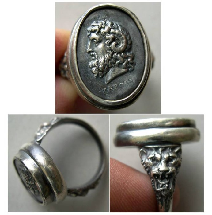 World Coins - Zeus Amon-A custom-made Sterling Silver Cameo Ring