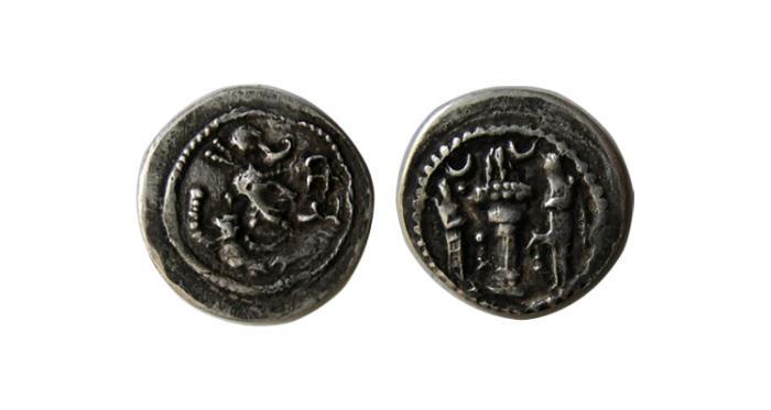 Ancient Coins - SASANIAN KINGS.Yazdgerd I.  AR Obol.ST (ISTAKHR) mint. Very rare.