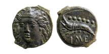 Ancient Coins - SICILY, Himera. Ca. 412-409 BC. Æ reduced Hemilitron. Choice FDC. Exceptional quality. Rare.