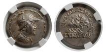 Ancient Coins - KINGS of BAKTRIA. Eukratides I. Ca 170-145 BC. AR Tetradrachm. NGC-Choice MS. Ex. Jonathan Kern's Collection