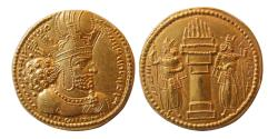 Ancient Coins - SASANIAN KINGS. Shahpur I. 240-272 AD. Gold Dinar. Lovely Style. Choice FDC. Lustrous.