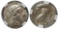Ancient Coins - ATTICA, Athens. 440-404 BC. AR Tetradrachm. Choice Superb. Full crest. Lustrous. NGC-MS*.