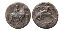 Ancient Coins - CALABRIA, Tarentum. Circa 380-345 BC. AR Nomos.
