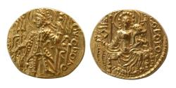 Ancient Coins - INDIA; KUSHAN KINGS. Vasudeva II. Ca. 290-310 AD. Gold Dinar. FDC. Lustrous.