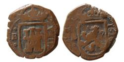 World Coins - COLONIAL SPAIN. Philip II. 1623 AD. AE Unit. dated 1618.