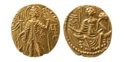 Ancient Coins - INDIA; KUSHAN KINGS. Shaka. Ca. 325-345 AD. Gold Stater. Choice FDC, Lustrous.