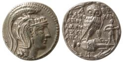 Ancient Coins - ATTICA, Athens. Ca. 111-110 BC. AR Tetradrachm. New Style Coinage.