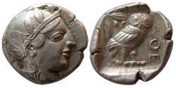 Ancient Coins - ATTICA, Athens. 465-454 BC. Silver Tetradrachm. Choice Mint State. Lustrous.