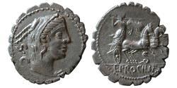 Ancient Coins - ROMAN REPUBLIC. L. Procilius. 80 BC. AR Denarius serratus.