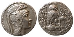 Ancient Coins - ATTICA, Athens. Ca. 131-130 BC. AR Tetradrachm. New Style Coinage. with Elephant !