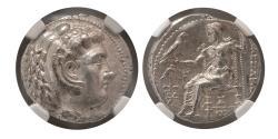 Ancient Coins - SELEUKID KINGDOM, Seleucus I. 312-281 BC. AR Tetradrachm. NGC Choice AU. Ekbatana mint.