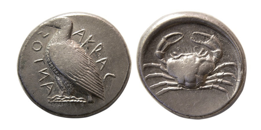 Ancient Coins - SICILY, Akragas. ca. 465/4-446 BC. Silver Tetradrachm.