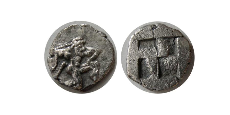 Ancient Coins - THRACE, Thasos. Ca. 500-470 BC. AR Diobol .