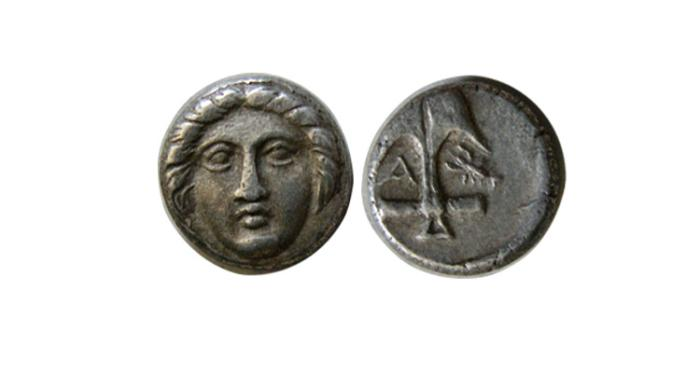 Ancient Coins - THRACE, Apollonia Pontika. Mid-late 4th century BC. AR Diobol