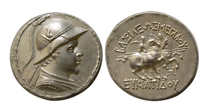 Ancient Coins - KINGS of BAKTRIA. Eukratides I. Circa 171-145 BC. AR Tetradrachm