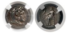 Ancient Coins - KINGS of MACEDON. Alexander III. 336-323 BC. Silver Tetradrachm. Lifetime issue. Tarsos. NGC XF.