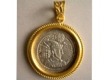 Ancient Coins - Sasanian Kings: Hormozd II. 302-309 AD. AR Drachm set in a 24 k. Pure Gold custom made frame