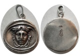 SILVER CHARM of The facing Medusa with snakes in her hair. Custom made Sterling Silver Charm.