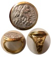 Ancient Coins - EPIROS. 234-168 BC. Genuine  Silver Drachm (20mm). Set in a Custom-made 18K. Gold Ring.