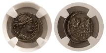 Ancient Coins - ROMAN REPUBLIC. P. Plautius Hypsaeus. 60 BC. AR Denarius. NGC-AU (Strike 4/5; Surface 4/5).