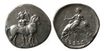 Ancient Coins - CALABRIA, Taras. Ca. 344-340 BC. Silver Nomos. Fine Artistic Style.