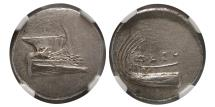 Ancient Coins - LYCIA, Phaselis. Ca. 4th. Century BC. Silver Stater.  NGC MS (Strike 4/5; Surface 4/5). Lovely strike.