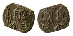 Ancient Coins - BYZANTINE EMPIRE. Constantine V with Leo IV and Leo III. 741-775 AD. Æ Follis.
