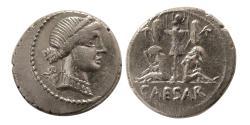 Ancient Coins - ROMAN EMPIRE. Julius Caesar. 48-47 BC. Silver Denarius.  Military mint in Spain.