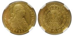 Ancient Coins - SPAIN. Carol IV. 1788-1808 AD. 1790 M-MF. Gold 2 Escudos. Madrid. NGC-MS 62. Fully lustrous.